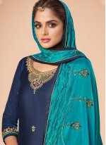 Navy Blue Embroidered Party Trendy Salwar Suit