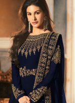 Navy Blue Embroidered Reception Anarkali Salwar Kameez