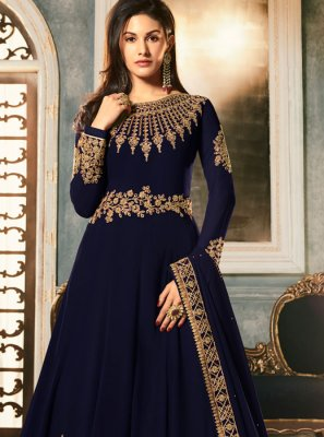 Navy Blue Embroidered Reception Anarkali Salwar Kameez
