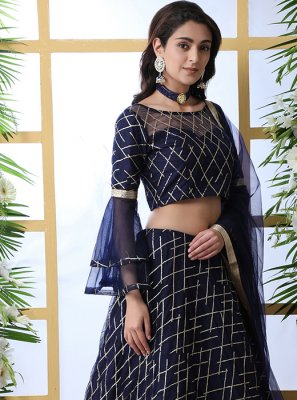 Navy Blue Embroidered Reception Designer Lehenga Choli
