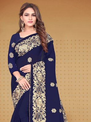 Navy Blue Embroidered Reception Designer Saree