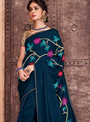 Navy Blue Embroidered Reception Traditional Saree