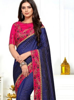 Navy Blue Embroidered Silk Classic Designer Saree