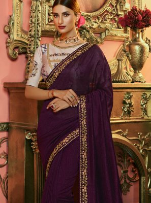 Navy Blue Embroidered Silk Saree