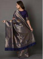 Navy Blue Embroidered Silk Silk Saree