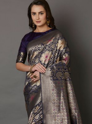 Navy Blue Embroidered Silk Silk Saree