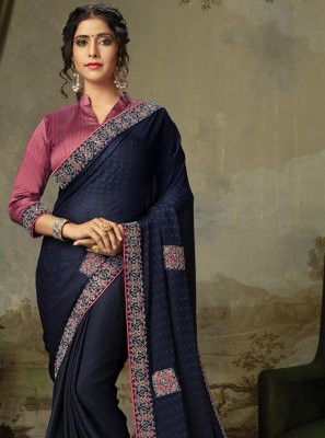 Navy Blue Embroidered Silk Traditional Saree