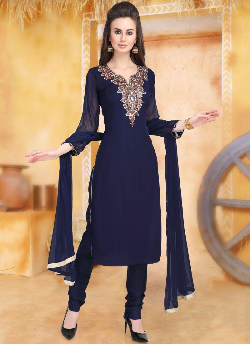 Navy Blue Embroidered Trendy Churidar Salwar Kameez