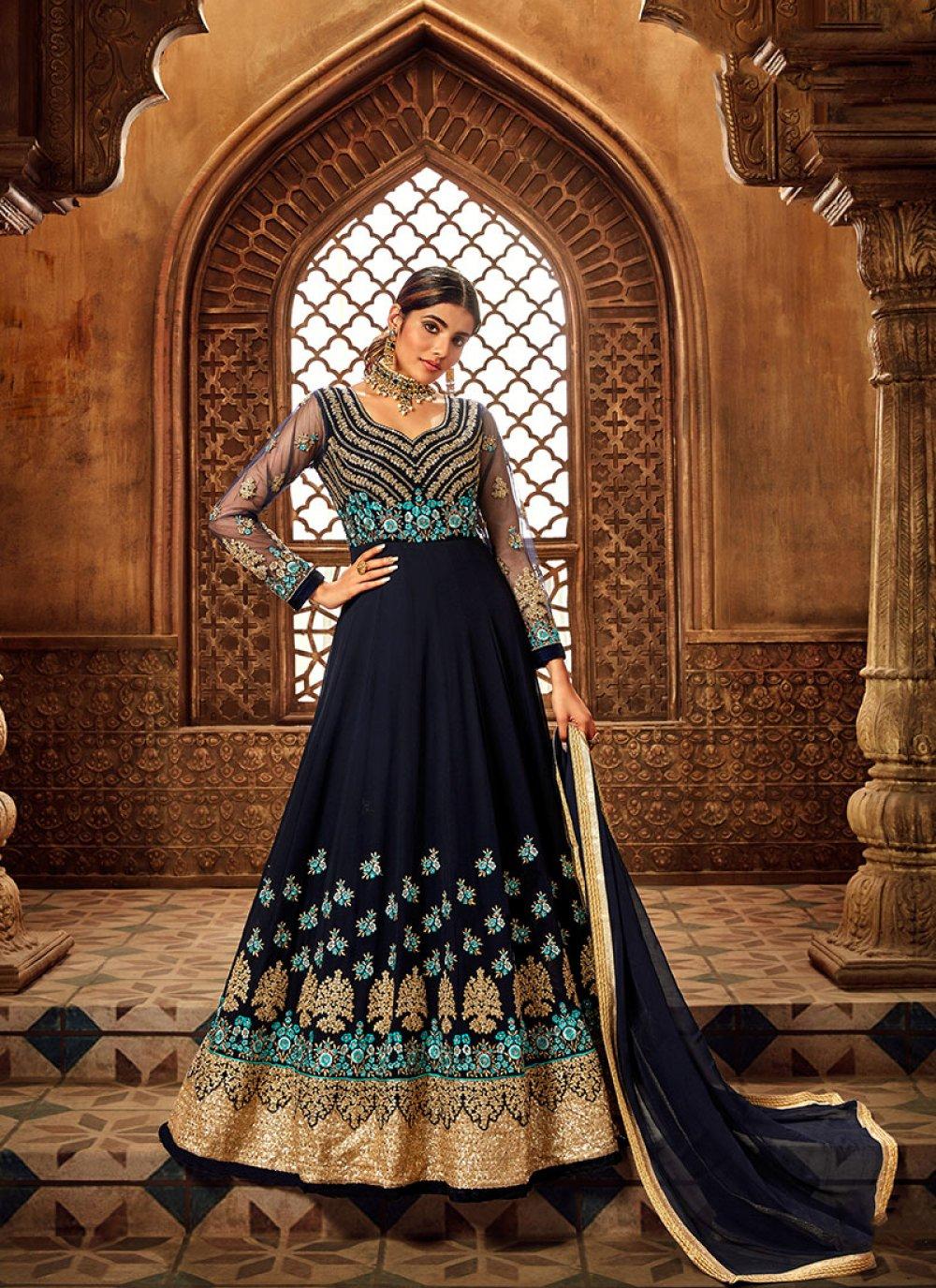 Navy Blue Embroidered Wedding Anarkali Suit