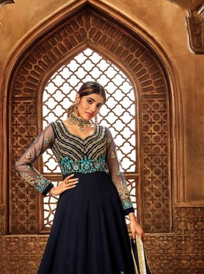 Navy Blue Embroidered Wedding Anarkali Suit