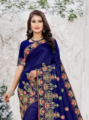 Navy Blue Engagement Trendy Saree