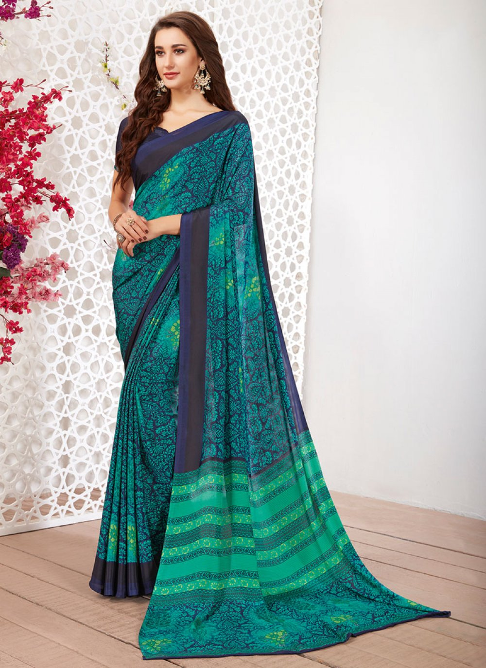 Navy Blue Faux Crepe Printed Casual Saree