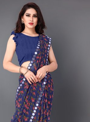 Navy Blue Faux Georgette Party Classic Saree