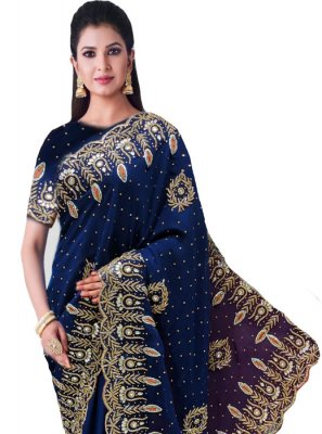 Navy Blue Faux Georgette Wedding Classic Saree