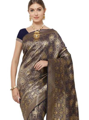 Navy Blue Festival Art Silk Classic Designer Saree