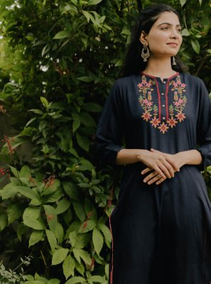 Navy Blue Festival Casual Kurti