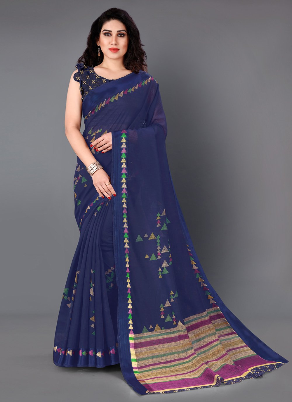 Navy Blue Festival Casual Saree