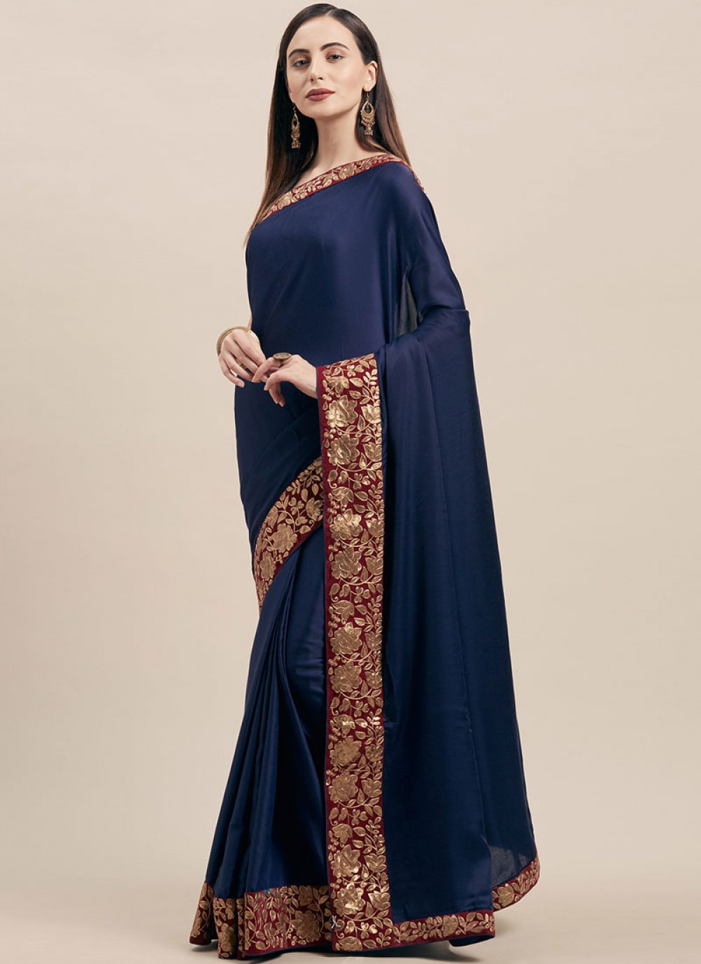 Navy Blue Festival Poly Silk Traditional Saree