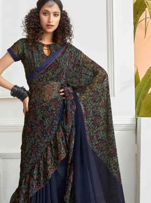 Navy Blue Festival Printed Saree