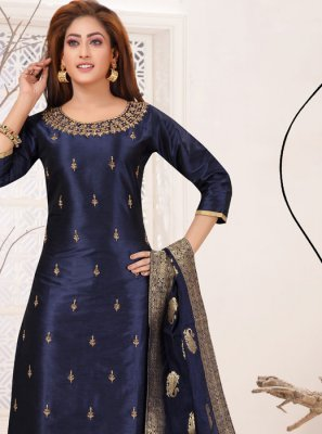 Navy Blue Festival Raw Silk Readymade Suit