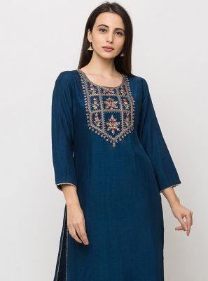Navy Blue Festival Silk Casual Kurti