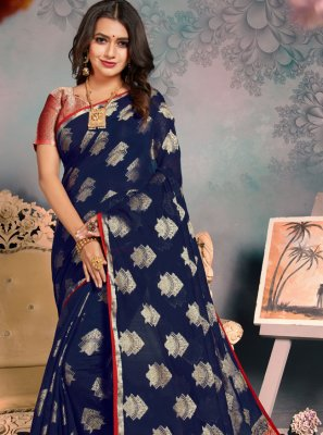 Navy Blue Festival Silk Classic Saree