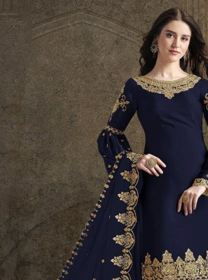 Navy Blue Festival Trendy Palazzo Suit