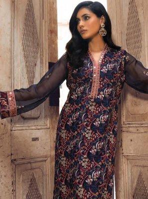 Navy Blue Georgette Designer Salwar Kameez