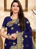 Navy Blue Georgette Designer Saree
