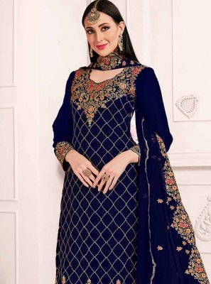 Navy Blue Georgette Designer Straight Suit