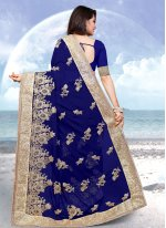 Navy Blue Georgette Embroidered Classic Saree
