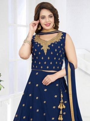 Navy Blue Georgette Embroidered Salwar Kameez