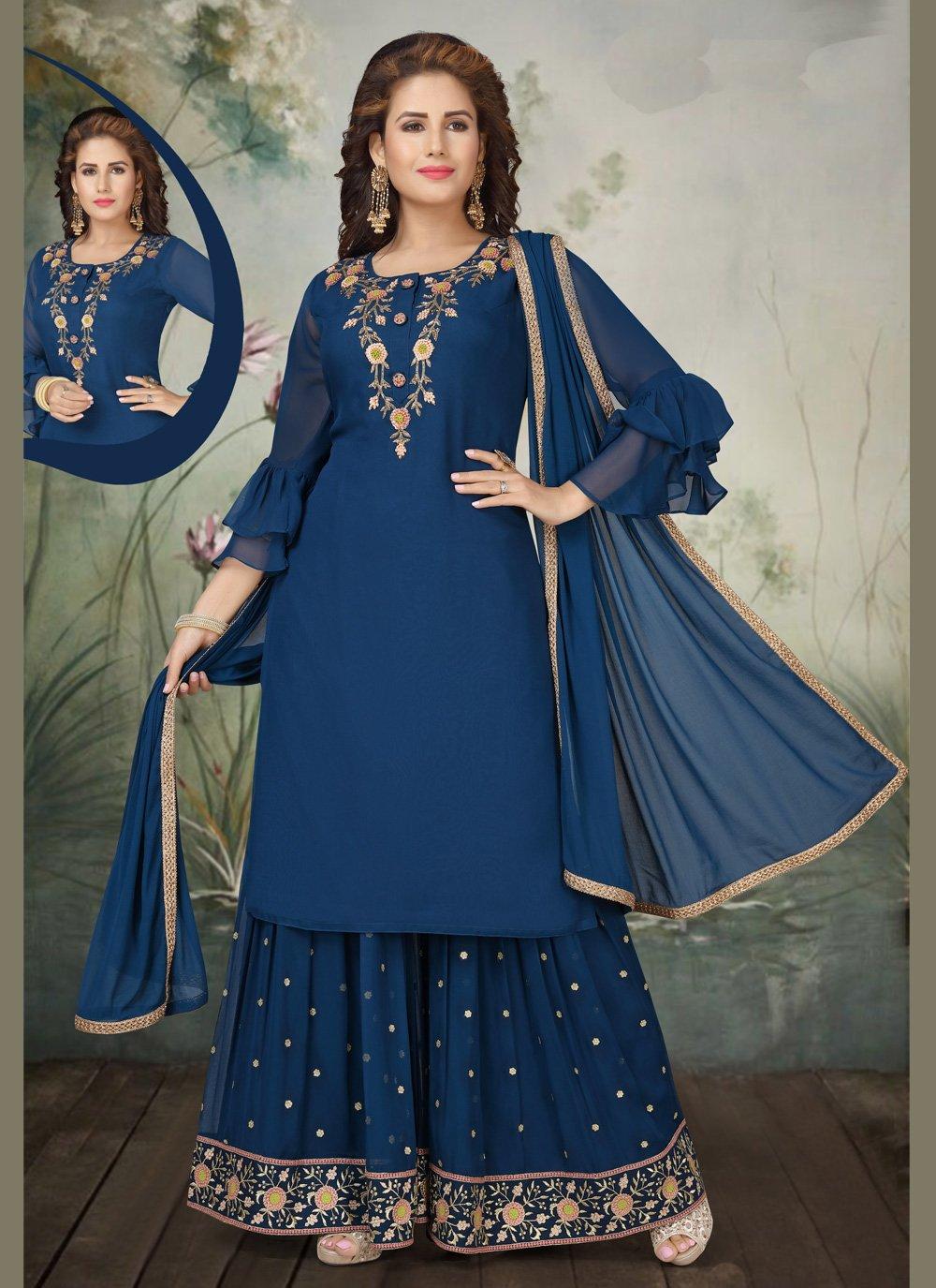 Navy Blue Georgette Embroidered Trendy Salwar Suit