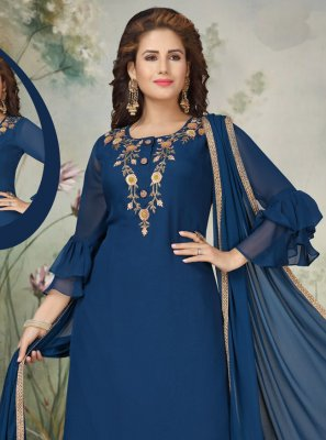 Navy Blue Georgette Embroidered Trendy Salwar Suit