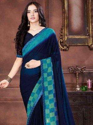 Navy Blue Georgette Traditional Saree