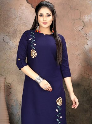 Navy Blue Handwork Party Wear Kurti