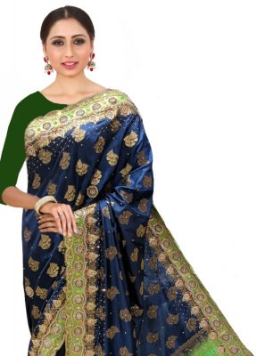 Navy Blue Handwork Silk Silk Saree