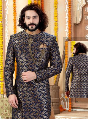 Navy Blue Jacquard Embroidered Indo Western