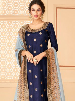 Navy Blue Jacquard Salwar Suit