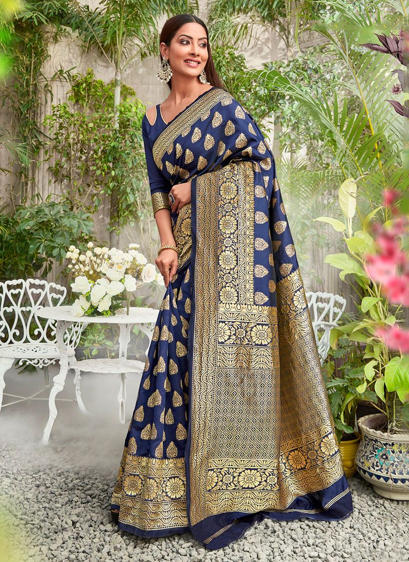 Navy Blue Jacquard Silk Designer Saree