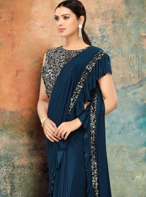 Navy Blue Lycra Reception Trendy Saree