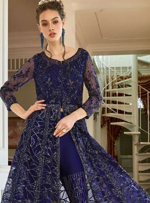 Navy Blue Net Reception Pant Style Suit