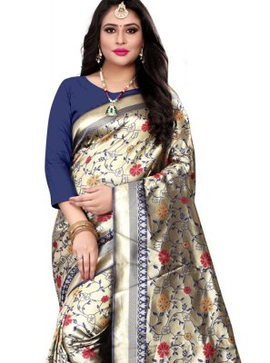 Navy Blue Party Banarasi Silk Silk Saree