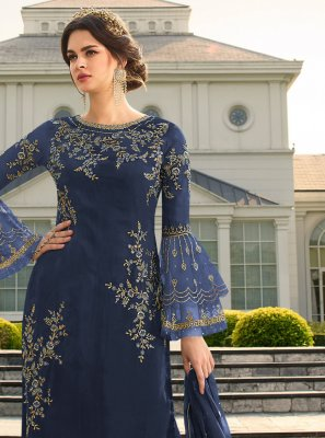 Navy Blue Party Palazzo Suit