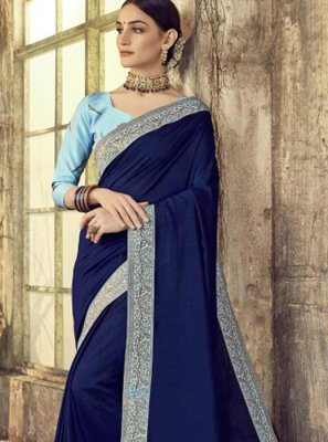 Navy Blue Party Silk Designer Saree