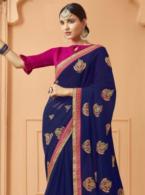 Navy Blue Party Traditional Saree