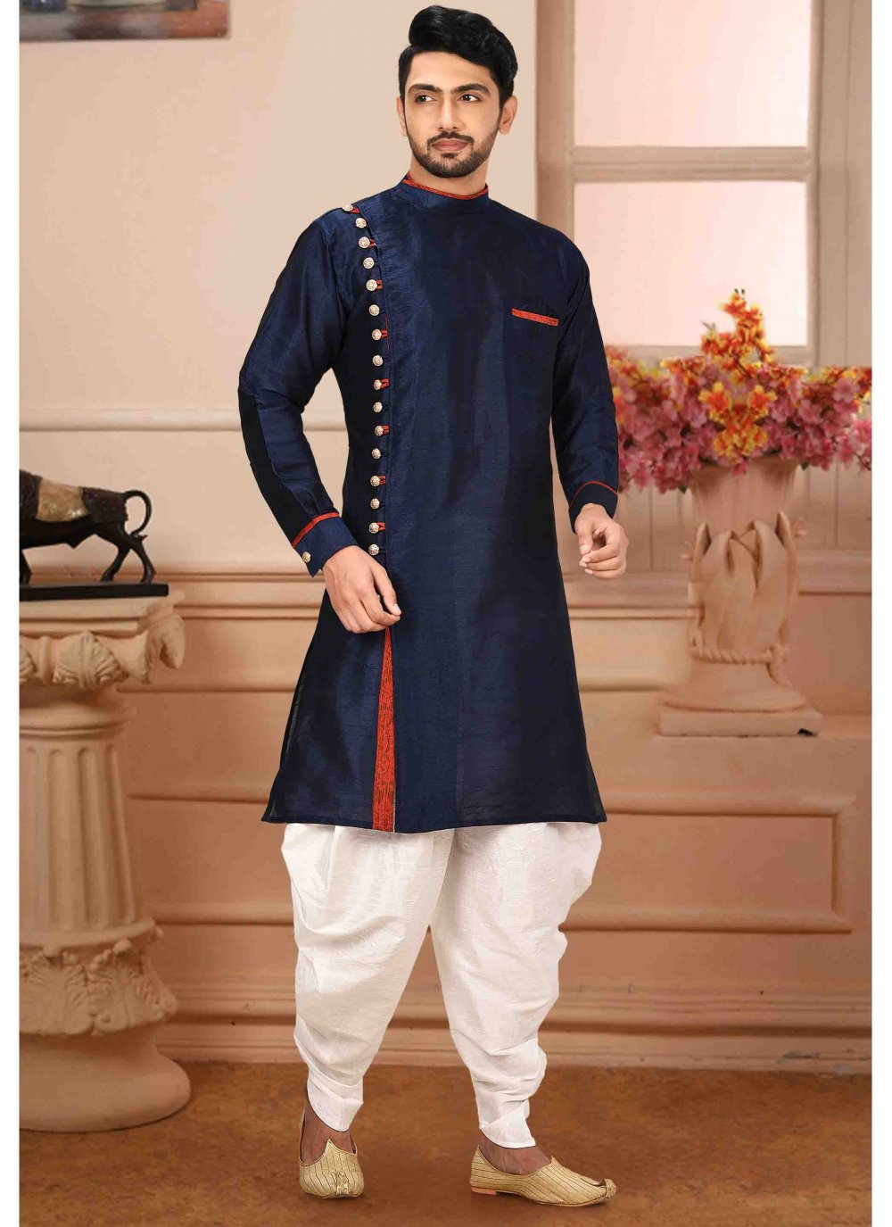 Navy Blue Plain Art Silk Kurta Pyjama
