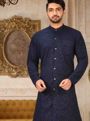 Navy Blue Plain Kurta Pyjama