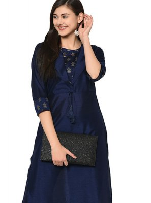 Navy Blue Poly Silk Festival Party Wear Kurti