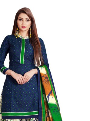Navy Blue Print Cotton Salwar Suit